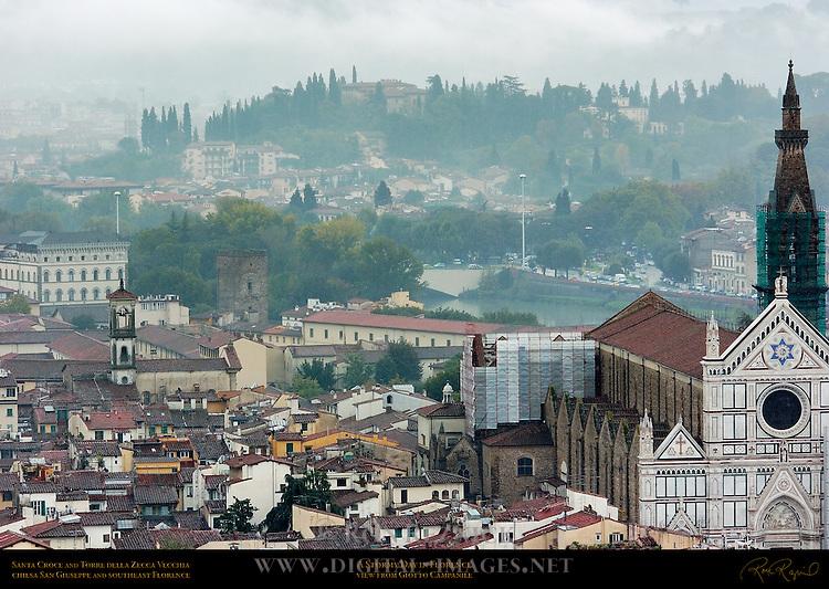 Stormy Day in Florence Santa Croce Torre della Zecca Vecchia Chiesa San Giuseppe Southeast Florence