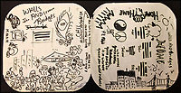 BNPS.co.uk (01202 558833)<br /> Pic: OmegaAuctions/BNPS<br /> <br /> A record inner sleeve covered in doodles and drawings by John Lennon as he brainstormed ideas for an album cover has emerged for auction and is tipped to sell for &pound;15,000.<br /> <br /> The sketchings, in black felt tip pen, are believed to have been Lennon's initial ideas for the cover of his Walls and Bridges album (1974) and span both sides of an opened out record sleeve. <br /> <br /> The record sleeve was given by Lennon to Jesse Davies, a session musician who provided lead guitar on the album.