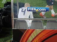 A dejected Michael Bradley of USA sits on the bench after defeat by Ghana. Ghana defeated the USA 2-1 in overtime in the 2010 FIFA World Cup at Royal Bafokeng Stadium in Rustenburg, South Africa on June 26, 2010.