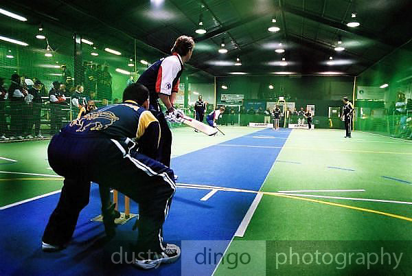 England (batting) vs Sri Lanka.<br /> 2003 Indoor Cricket World Masters Championships, Christchurch, New Zealand