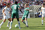 25 April 2009: Brittany Bock (left) of the Los Angeles Sol, Tina Ellertson (8) and Elise Weber (12) of Saint Louis Athletica converge on a loose ball.  Saint Louis Athletica tied the visiting Los Angeles Sol 0-0  in a regular season Women's Professional Soccer game at Robert R. Hermann Stadium at St. Louis University, St. Louis, Missouri.