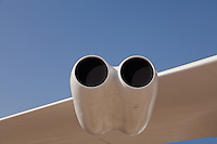 An empty double-engine nacelle on the right wing of a Boeing B-52B Stratofortress bomber on static display.