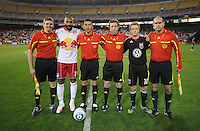 New York Red Bulls forward Thierry Henry (14)and DC United Dax McCarty (10)  with referees at the coin toss.   The New York Red Bulls defeated DC United 4-0, at RFK Stadium, Saturday April 21, 2011.