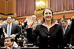 HARTFORD, CT- 07 JANUARY 2008 --010709JS10-Rep. Elizabeth H. Esty, D-Cheshire, is sworn-in on Wednesday during the opening day of the general assembly at the state Capitol in Hartford. Esty is one of 24 new members who were sworn-on during the ceremony. <br /> Jim Shannon / Republican-American