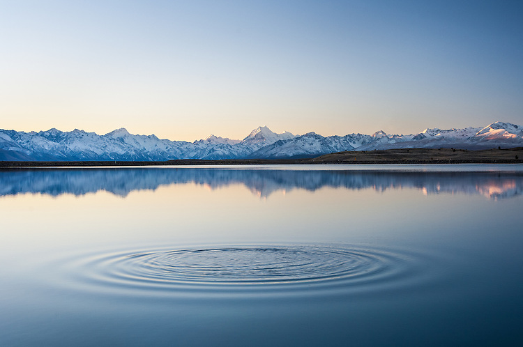 Mount Cook, Southern Alps Reflection, Canterbury, New Zealand - stock photo, canvas, fine art print
