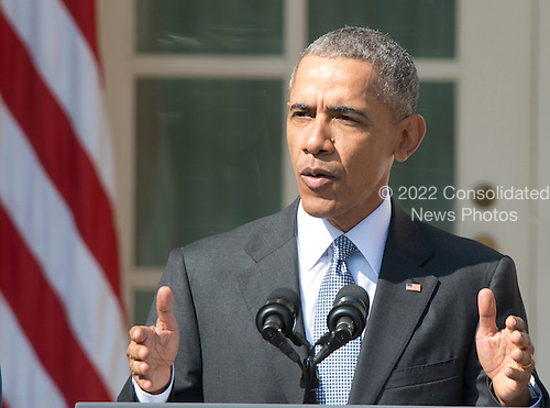 United States President Barack Obama introduces Judge Merrick Garland, chief justice for the US Court of Appeals for the District of Columbia Circuit, as his nominee to replace the late Associate Justice Antonin Scalia on the U.S. Supreme Court in the Rose Garden of the White House in Washington, D.C. on Wednesday, March 16, 2016. <br /> Credit: Ron Sachs / CNP