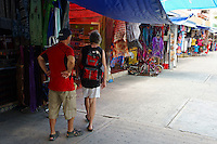 Tourists in Mercado 28 souvenirs and handicrafts market in  Cancun, Mexico      .