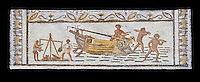 Late 4th century AD Roman mosaic depiction a harbour scene with men unloading and weighing goods. From Cathage, Tunisia.  The Bardo Museum, Tunis, Tunisia. Black background