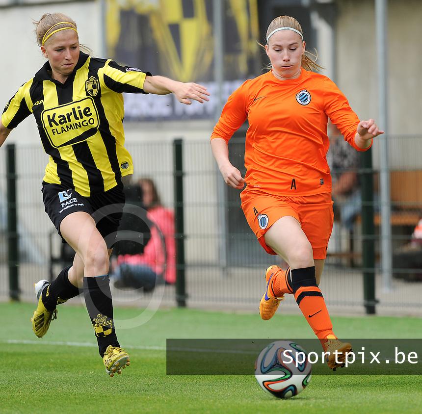 Bekerfinale vrouwen 2015 : Lierse-Club Brugge Vrouwen :<br /> <br /> spurtduel tussen Jana Coryn (R) en Merel Groenen (L)<br /> <br /> foto VDB / BART VANDENBROUCKE