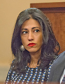 Huma Abedin, a close aide to former United States Secretary of State Hillary Rodham Clinton, a candidate for the 2016 Democratic Party nomination for President of the United States, looks on as Mrs. Clinton testfies before the US House Select Committee on Benghazi on Capitol Hill in Washington, DC on Thursday, October 22, 2015.<br /> Credit: Ron Sachs / CNP<br /> (RESTRICTION: NO New York or New Jersey Newspapers or newspapers within a 75 mile radius of New York City)