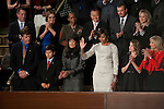 Jan 25, 2011 - Washington, District of Columbia, U.S. - First Lady MICHELLE OBAMA waves to the crowd as they greet her before President Barack Obama delivers the 2011 State of the Union Address in the chamber of the United States House of Representatives Tuesday night.(Credit Image: © Pete Marovich/ZUMA Press)