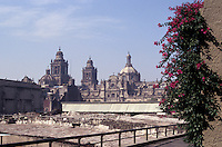 Ruins of the Templo Mayor or Great Pyramid of Tenochtitlan in Mexico City with the Metropolitan Cathedral in the background, Mexico City
