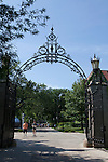 Wrought Iron entrance gate to Hull Court, University of Chicago campus, Chicago, Illinois, IL, USA