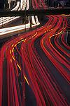 Rush hour traffic through downtown Seattle along Interstate 5 car light streaks Washington State USA