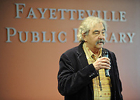 NWA Democrat-Gazette/ANDY SHUPE<br /> Mike Shirkey, host of the Pickin' Post, a folk and bluegrass music show on KUAF since 1980, speaks Friday, Feb. 10, 2017, before the start of a concert featuring John Gorka at the Fayetteville Public Library. The free concert drew more than 100 residents for the mid-afternoon concert.