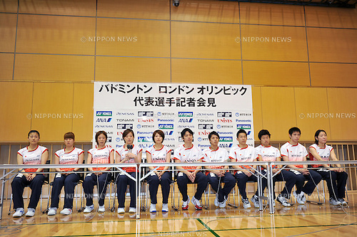 General view,.MAY 8, 2012 - Badminton : Japan National Team during the Press Conference about the entering representative of London Olympic Games at Ajinomoto National Training Center, Tokyo, Japan. (Photo by Jun Tsukida/AFLO SPORT) [0003].