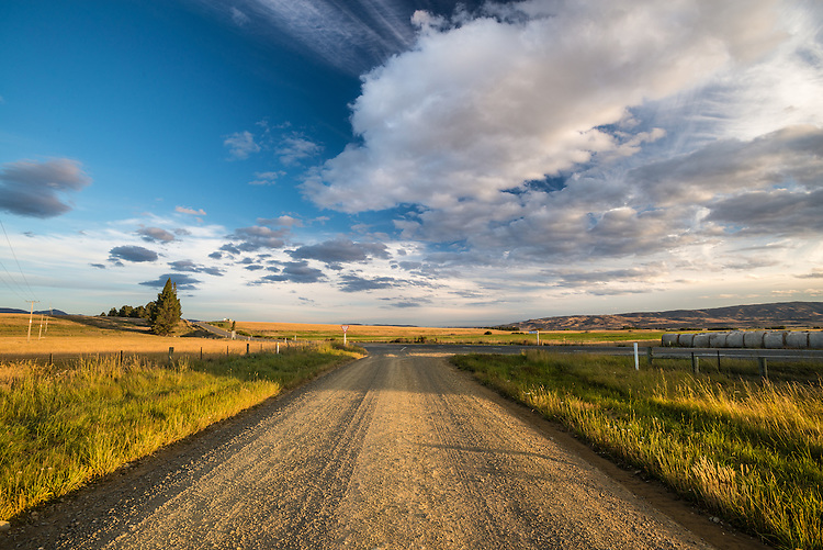 Gravel road in late afternoon light near Ranfurly, Central Otago, South Island, New Zealand - stock photo, canvas, fine art print