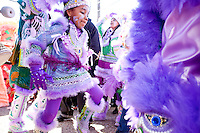 The Fi Yi Yi Mardi Gras Indians dance, in the Treme neighborhood of New Orleans on Mardi Gras day, February 16, 2010.