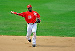 22 June 2008: Washington Nationals' shortstop Cristian Guzman gets the third out in the top of the ninth inning against the Texas Rangers at Nationals Park in Washington, DC. The Rangers defeated the Nationals 5-3 in the final game of their 3-game inter-league series...Mandatory Photo Credit: Ed Wolfstein Photo