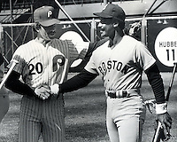 Sluggers Mike Schmidt Phillies and  and Red Sox's Jim Rice. (1987 photo by Ron Riesterer)