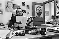 """New York City, USA. February 19th, 1971. Lyle Stuart, editor of """"The Anarchist Cookbook"""", written by William Powell."""