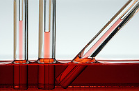 CAPILLARY ACTION - A MOVEMENT OF WATER<br /> (Variations Available)<br /> Its Interaction With the Walls of A Thin Tube<br /> Water climbs up a thin glass tube because of the strong hydrogen-bonding interactions between the water and the oxygen at the surface of the glass (SiO2), climbing higher in the smaller diameter tube. Slant of tube doesn't affect height of the column.