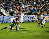 Number one seeds Virginia Tech and Florida State play in the the NCAA Division I Soccer Tournament semifinals at Wakemed Soccer Park in Cary, NC on December 6, 2013.  Kelly Conheeney (13) scores a tying goal at the end of the first half.
