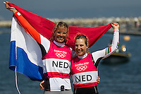 ENGLAND, Weymouth. 10th August 2012. Olympic Games. Women's 470 class. Medal Race. Lisa Westerhof (NED) Skipper (left) and Lobke Berkhout (NED) Crew, Bronze Medalists.