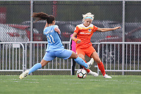 Piscataway, NJ - Saturday May 20, 2017: Raquel Rodriguez, Rachel Daly during a regular season National Women's Soccer League (NWSL) match between Sky Blue FC and the Houston Dash at Yurcak Field.  Sky Blue defeated Houston, 2-1.