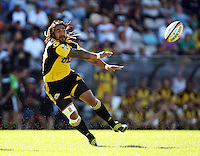 Ma'a Nonu fires out a pass during the Super 14 rugby union match between the Hurricanes and Brumbies at Porirua Park, Wellington, New Zealand on Friday 29 January 2010. Photo: Dave Lintott / lintottphoto.co.nz