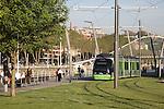 Tram with Zubizuri Bridge by Calatrava, Bilbao, Basque Country, Spain