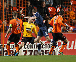 Colin McMenamin with a great chance to score for Ross County but he heads the ball against the post