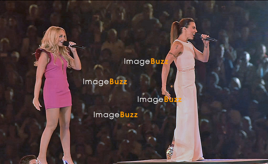 SPICE GIRLS _Olympics 2012 Closing Ceremony, Emma Bunton and Melanie Chisholm performing at the closing ceremony of the London Olympics_12/08/2012.