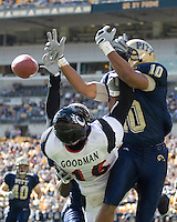 Pitt Panthers Defensive Back Mike Phillips #10 breaks up a pass intended for Cincinnati Bearcats Wide Receiver Dominick Goodman. The Panthers beat the Bearcats 24-17 on October 20, 2007 at Heinz Field, Pittsburgh, Pennsylvania.