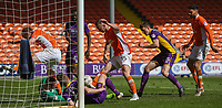 Blackpool's Tom Aldred tries to scramble the ball into the net<br /> <br /> Photographer Alex Dodd/CameraSport<br /> <br /> The EFL Sky Bet League Two - Blackpool v Cheltenham Town - Saturday 22nd April 2017 - Bloomfield Road - Blackpool<br /> <br /> World Copyright &copy; 2017 CameraSport. All rights reserved. 43 Linden Ave. Countesthorpe. Leicester. England. LE8 5PG - Tel: +44 (0) 116 277 4147 - admin@camerasport.com - www.camerasport.com
