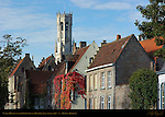 Canal Houses on the Groenerei and Belfort Bell Tower, Bruges, Brugge, Belgium