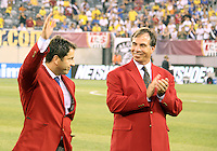 Preki and Bruce Arena of the USA 2010 inductees into the hall of fame during an international friendly match against Brazil in Giants Stadium, on August 10 2010, in East Rutherford, New Jersey.Brazil won 2-0.