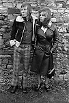 Fashionably dressed young teenage couple. Margaret and Barry Kirkbride.  Workington Cumbria, The Lake District, England 1975.