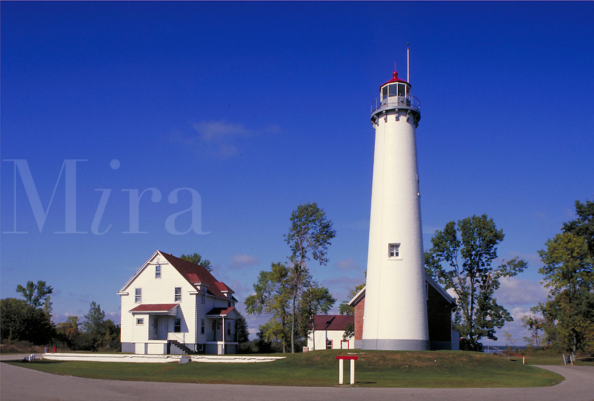Lighthouse built in 1876 at Tawas Point on Lake Huron; located in Tawas Point State Park near Tawas City. Tawas City Michigan USA Lake Huron.