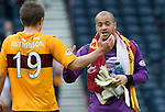 Motherwell v St Johnstone.....16.04.11  Scottish Cup Semi-Final.Darren Randolph celebrates with Shaun Hutchison at full time.Picture by Graeme Hart..Copyright Perthshire Picture Agency.Tel: 01738 623350  Mobile: 07990 594431