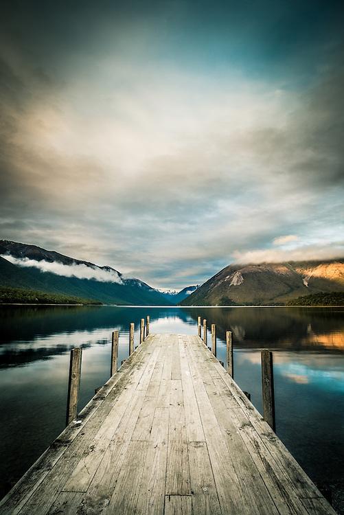 Sunrise, Lake Rotoiti, Nelson Lakes, New Zealand - stock photo, canvas, fine art print
