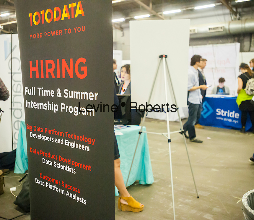 1010Data announces its hiring at the TechDay New York event on Tuesday, April 18, 2017. Thousands attended to seek jobs with the startups and to network with their peers. TechDay bills itself as the U.S.'s largest startup event with over 500 exhibitors. (© Richard B. Levine)