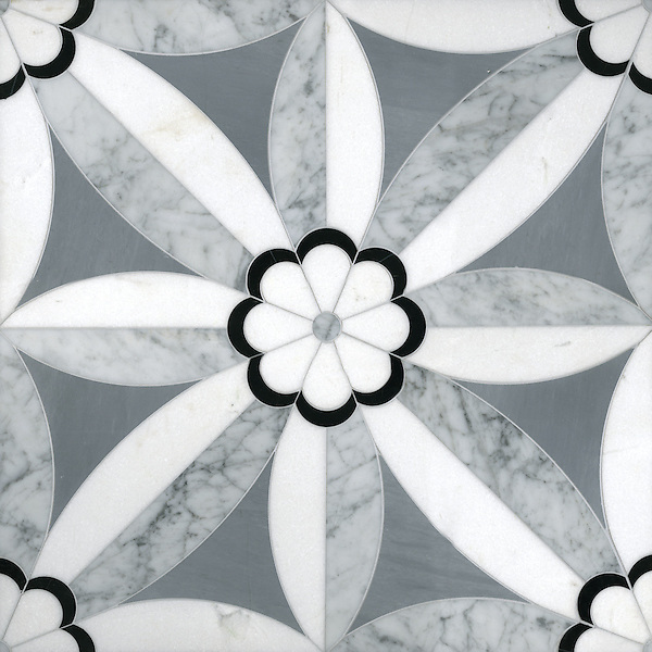 Edie 2, a waterjet stone mosaic, shown in Nero, Bardiglio, Thassos, and Carrara, is part of the Silk Road Collection by Sara Baldwin for New Ravenna Mosaics.