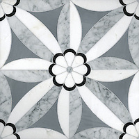 Edie Stone Mosaic shown in Nero, Bardiglio, Thassos and Carrara.
