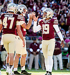 FSU kicker Roberto Aguayo is congratulated after his 53 yard field goal in the third quarter when Florida State defeated Wake Forest 43-3 in an NCAA football game in Tallahassee, FL October 4, 2014.