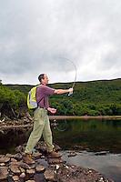 Man flyfishing at Loch An Draing, Scotland, UK