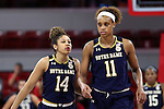 29 December 2016: Notre Dame's Mychal Johnson (14) and Brianna Turner (11). The North Carolina State University Wolfpack hosted the University of Notre Dame Fighting Irish at Reynolds Coliseum in Raleigh, North Carolina in a 2016-17 NCAA Division I Women's Basketball game. NC State won the game 70-62.