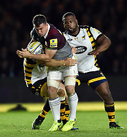 Dave Ward of Harlequins takes on the Wasps defence. Aviva Premiership match, between Harlequins and Wasps on April 28, 2017 at the Twickenham Stoop in London, England. Photo by: Patrick Khachfe / JMP