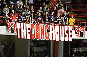 New sign for Rob Dongara (Northeastern - 39). - The Northeastern University Huskies defeated the visiting Boston College Eagles 2-1 on Saturday, February 19, 2011, at Matthews Arena in Boston, Massachusetts.