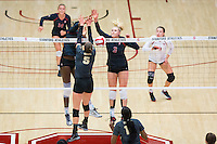 STANFORD, CA - September 9, 2016: Inky Ajanaku, Hayley Hodson at Maples Pavilion. The Purdue Boilermakers defeated the Stanford Cardinal 3 - 2.